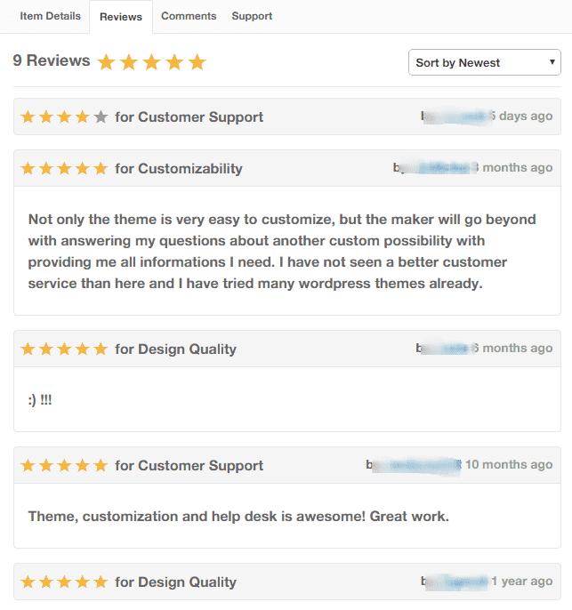 Themeforest review feedback