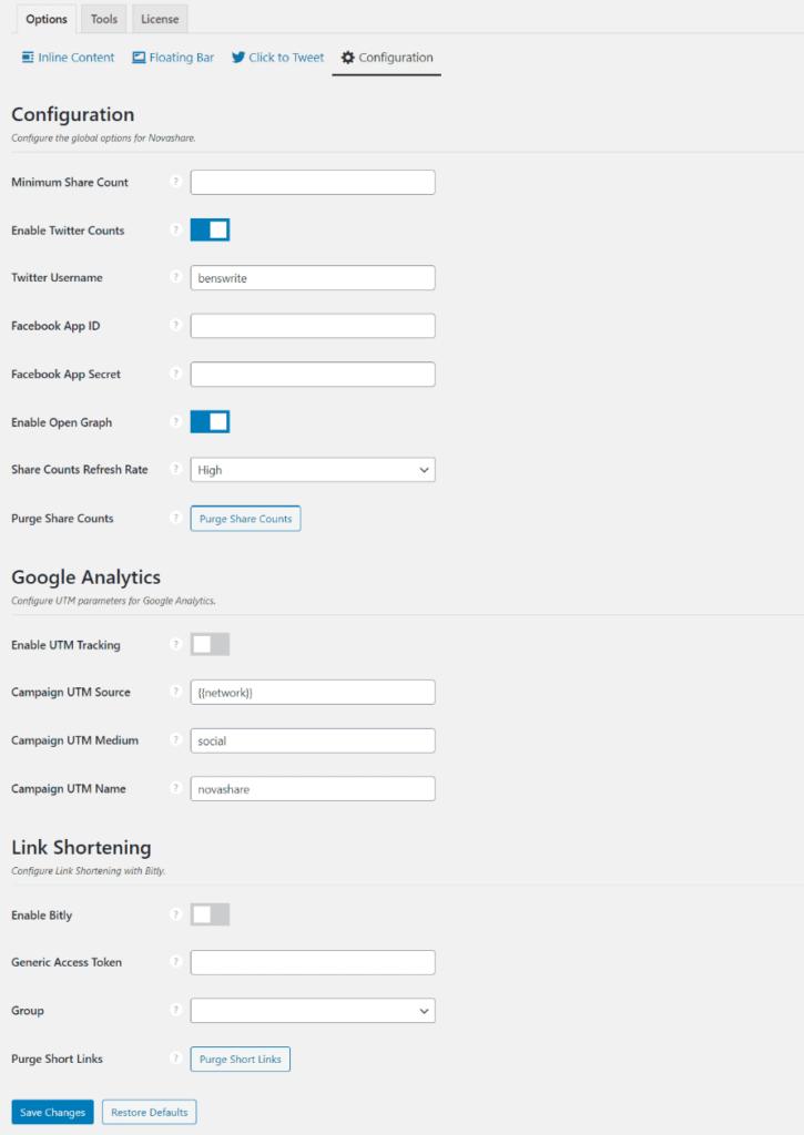 Configuration options in Novashare