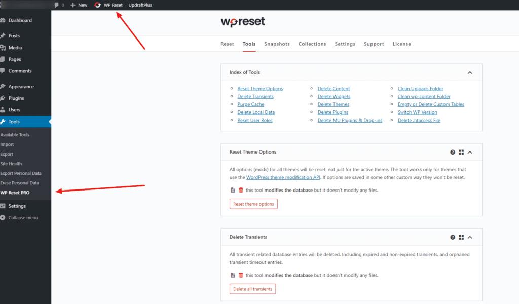WordPress admin & WP Reset