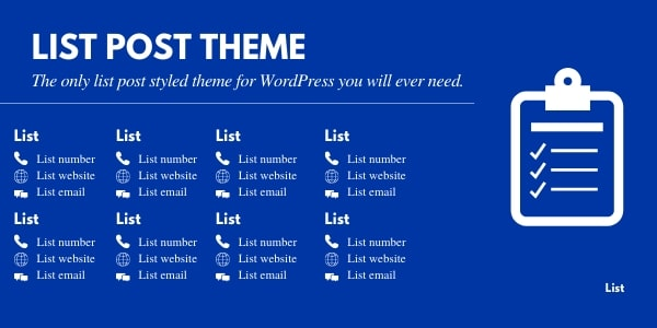 List post theme for WordPress