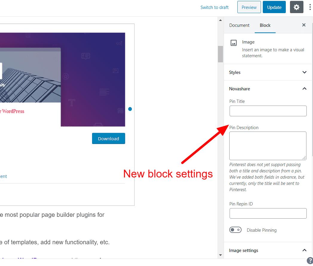 Pinterest settings for images
