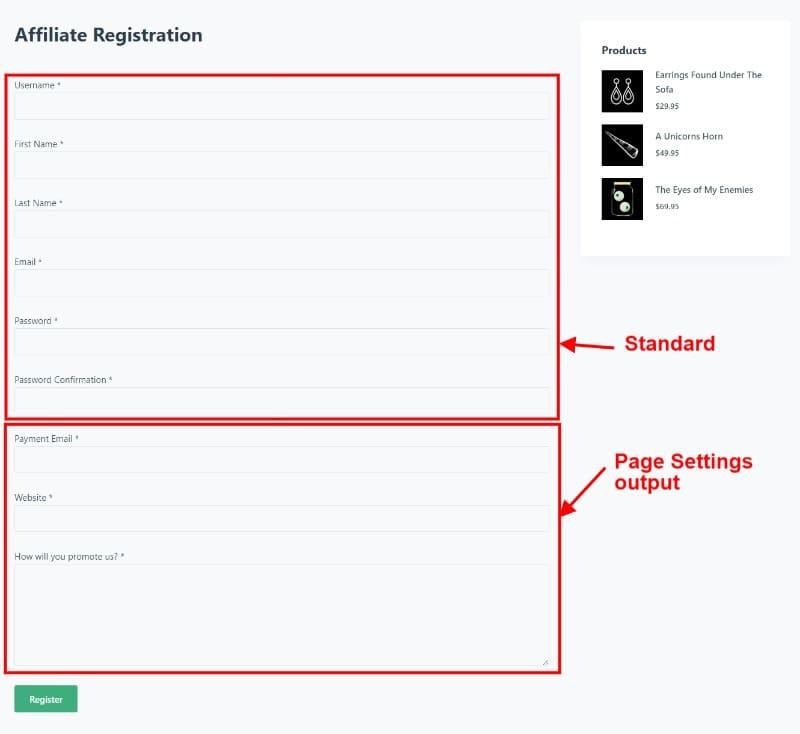 Affiliate Registration Page