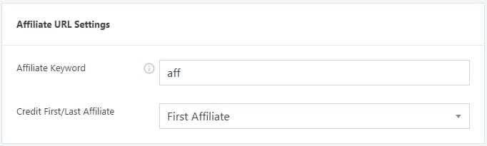 Affiliate URL Settings