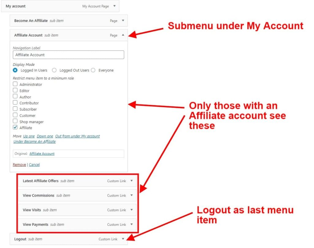 screenshot of organizing menu items for your affiliate menu