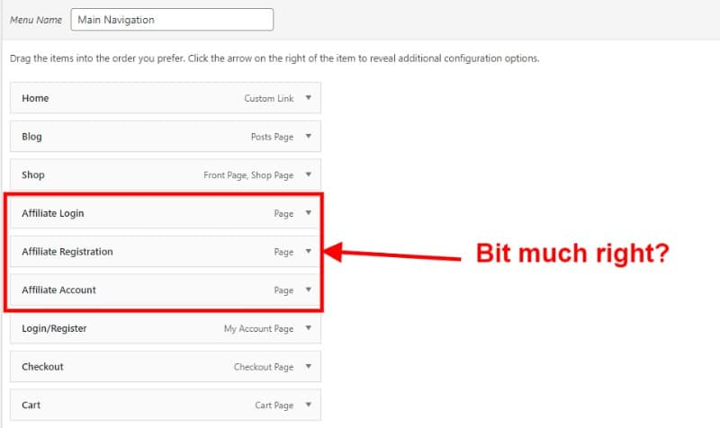Menu items for your affiliate menu a screenshot
