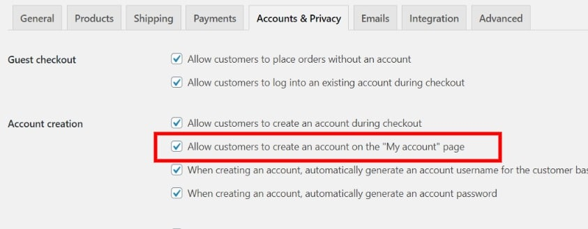 Screenshot showing customers being allowed to create an account from my account page in WooCommerce