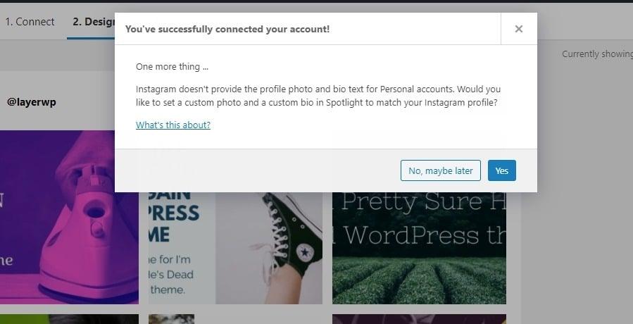 Successfully connecting instagram Spotlight Pro screenshot