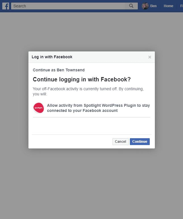 Facebook settings in Spotlight Pro screenshot