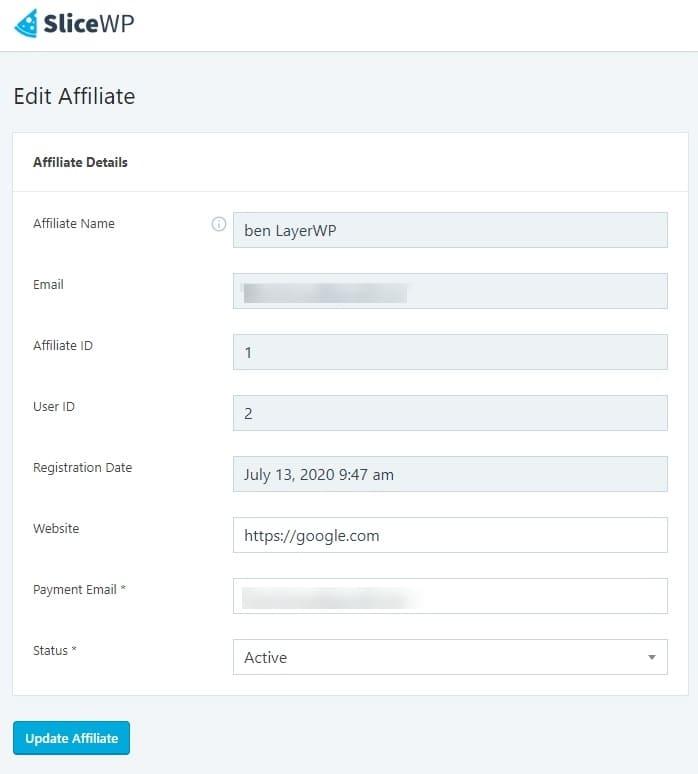 Edit affiliate in SliceWP