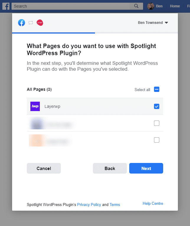 Choose a FB page in Spotlight Pro screenshot