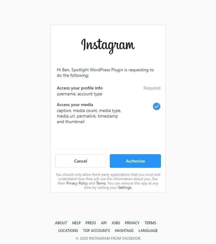 Connecting Instagram Spotlight Pro screenshot