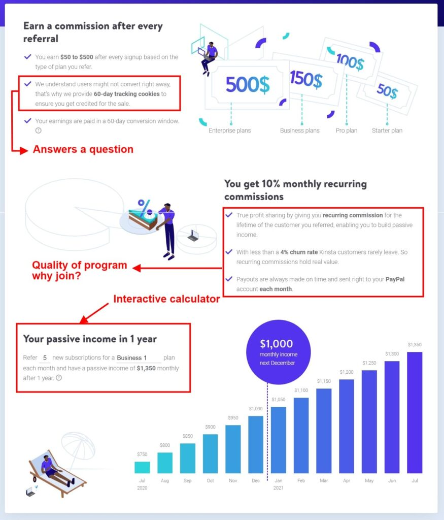 Kinsta Affiliate page example landing page