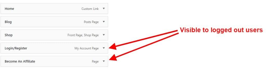 Visibility of both menu items screenshot