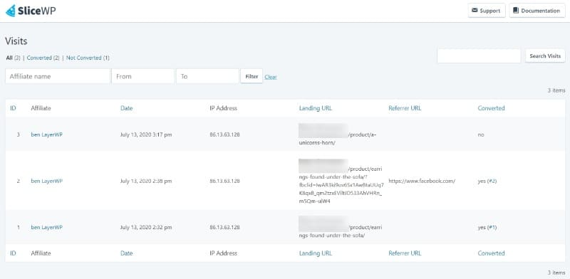 Visits from affiliates overview