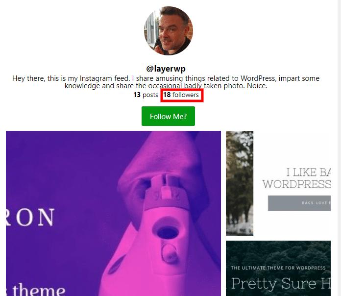 Displaying follower count Spotlight Pro screenshot