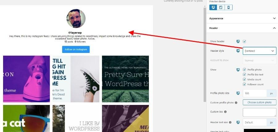 Header alignment in Spotlight Pro screenshot