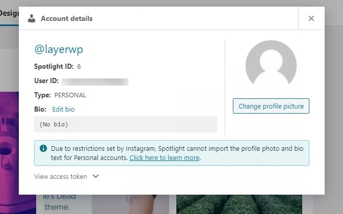 Account details in Spotlight Pro screenshot