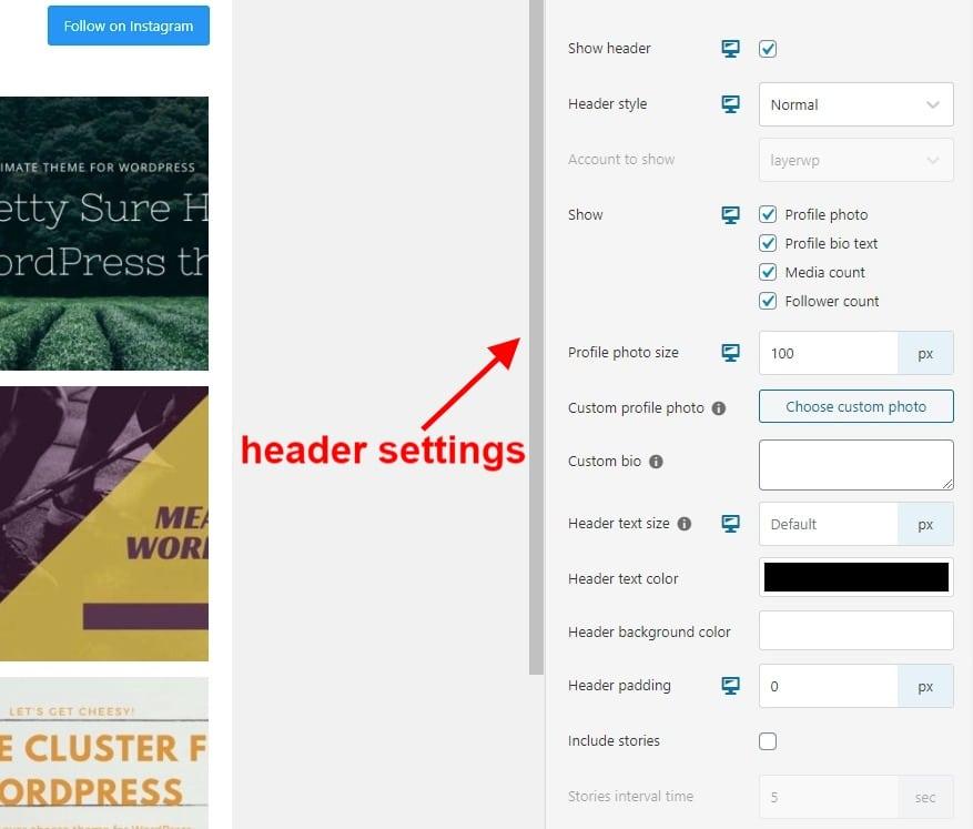 Header settings in Spotlight Pro screenshot