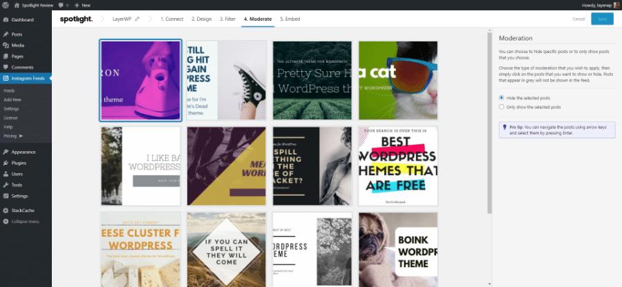 Moderating feeds in Spotlight Pro screenshot