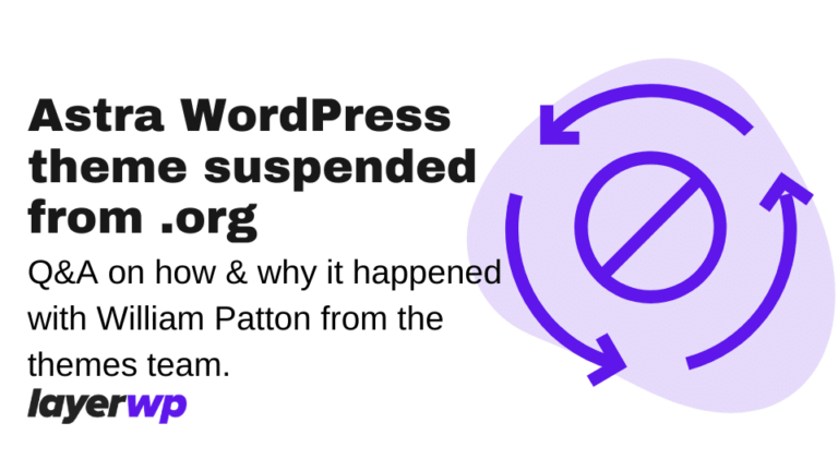 Astra WordPress theme suspended from org