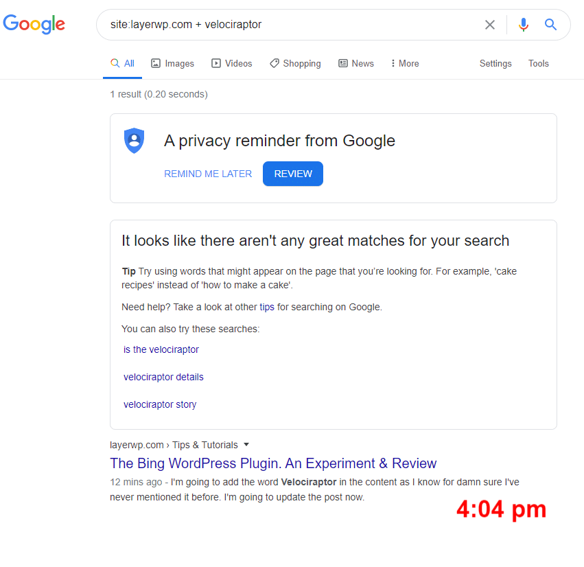 Another screenshot of a test for Google