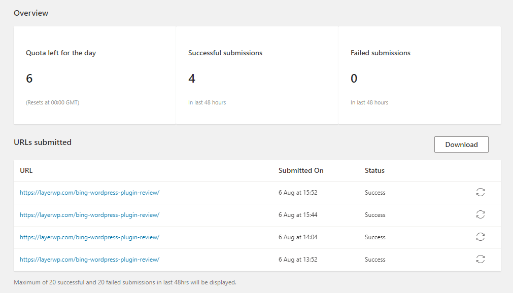 screenshot of submission page in WordPress