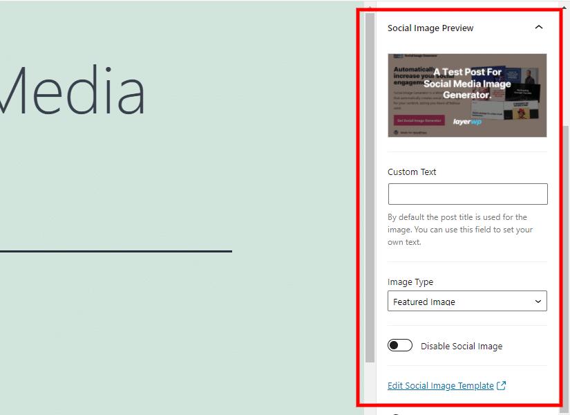 Screenshot of Gutenberg Editor & Social Image Generator Post Settings