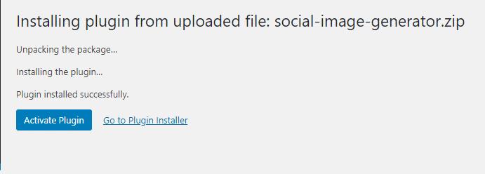 Screenshot of plugin installed