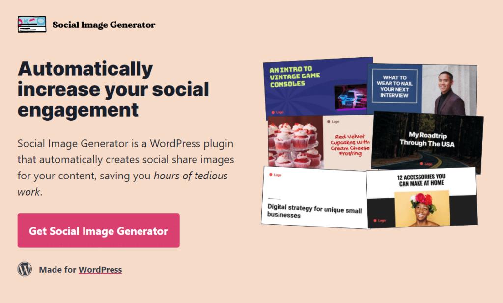 Screenshot of landing Page for Social Image Generator Plugin
