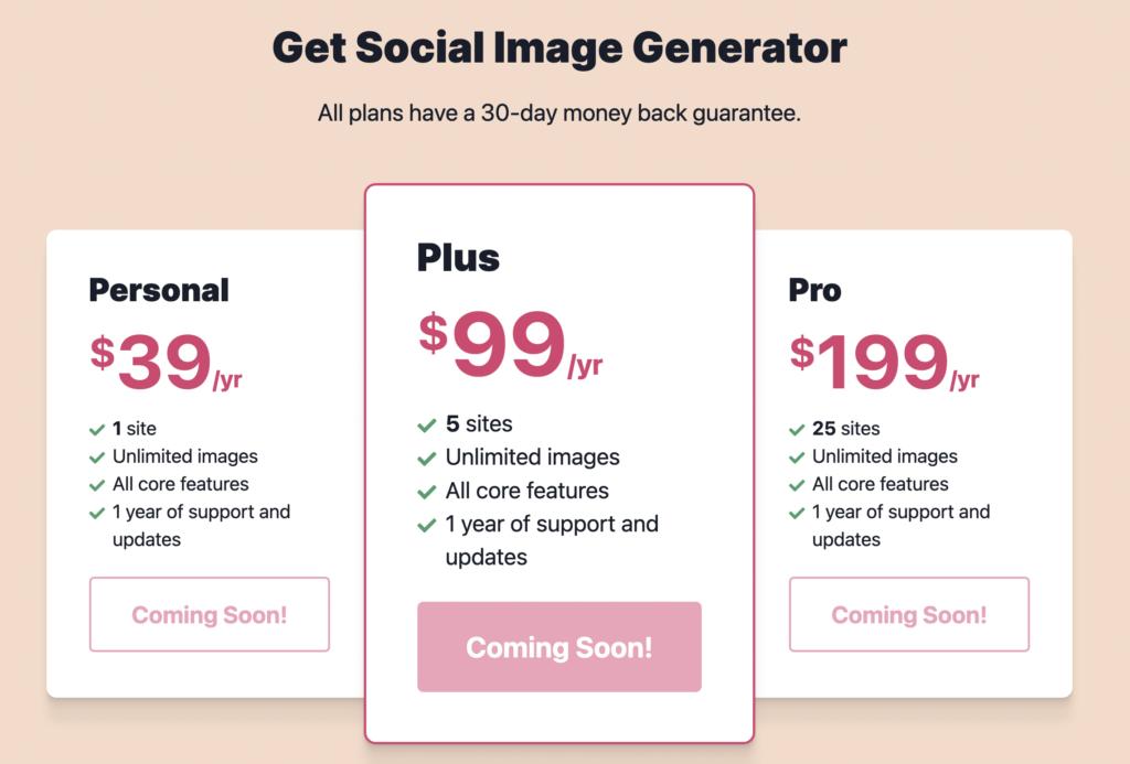 Screenshot of Social Image Generator Pricing