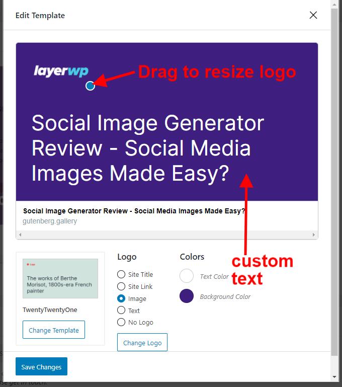 Screenshot of custom template changes