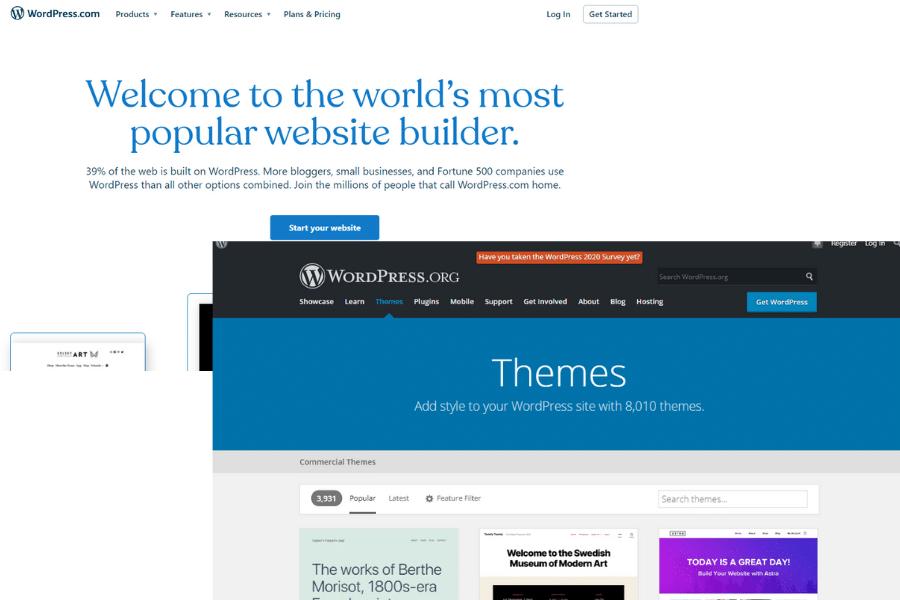 Screenshot of WordPress.com landing page and WordPress.org Landing page