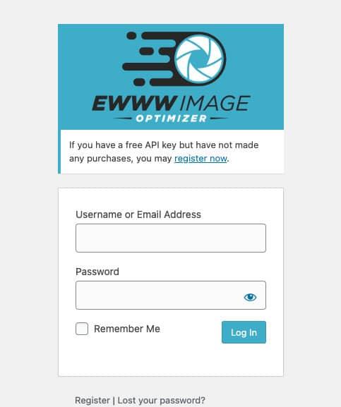 EWWW Image Optimizer Login Screen