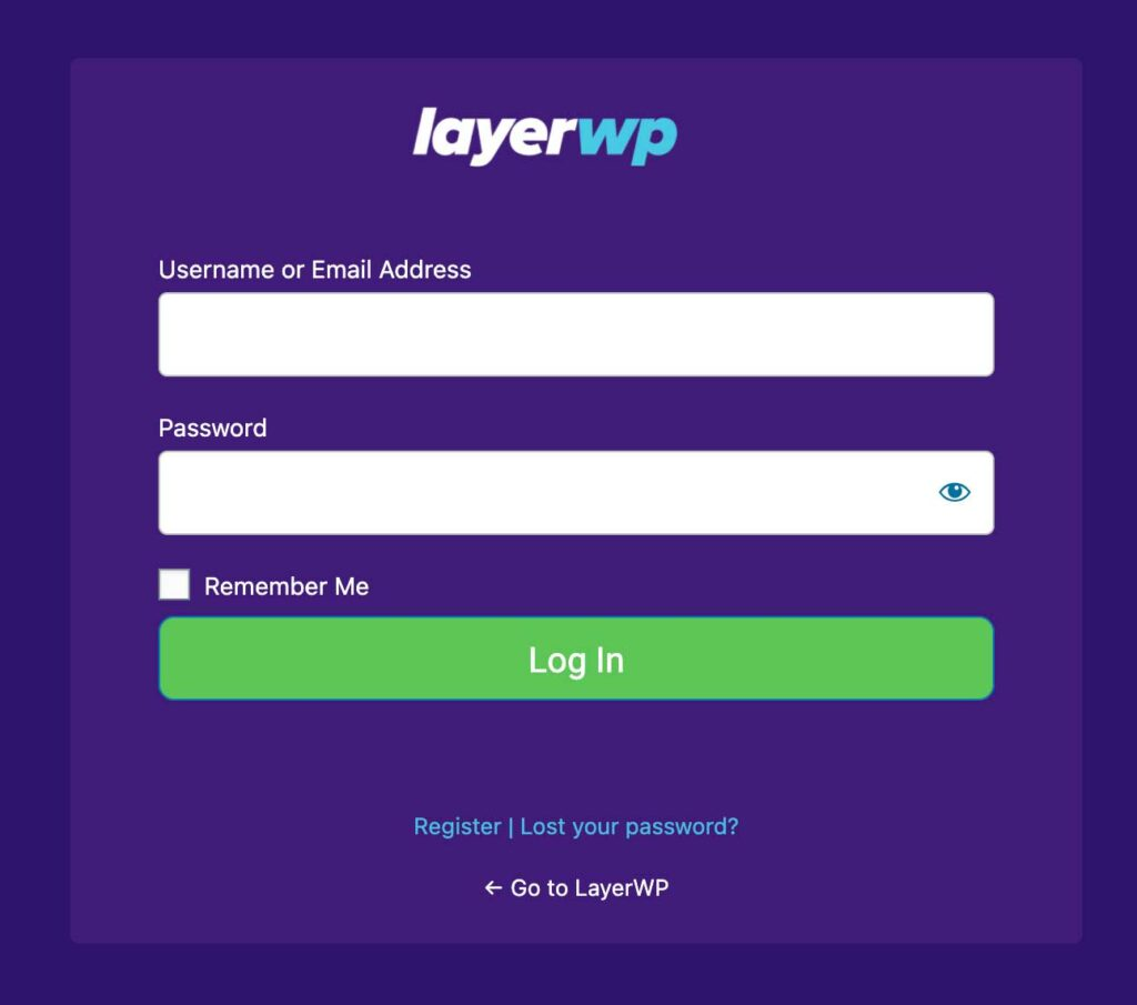 LayerWP Login Screen