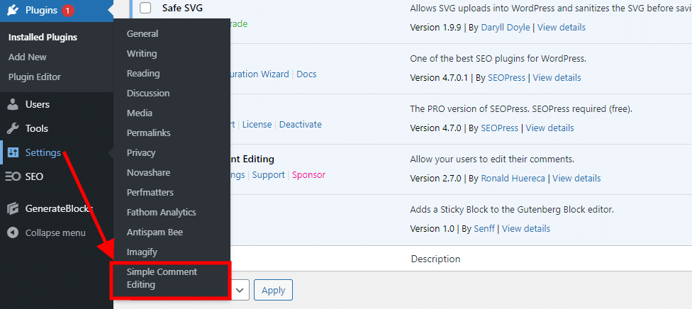 Hover over settings