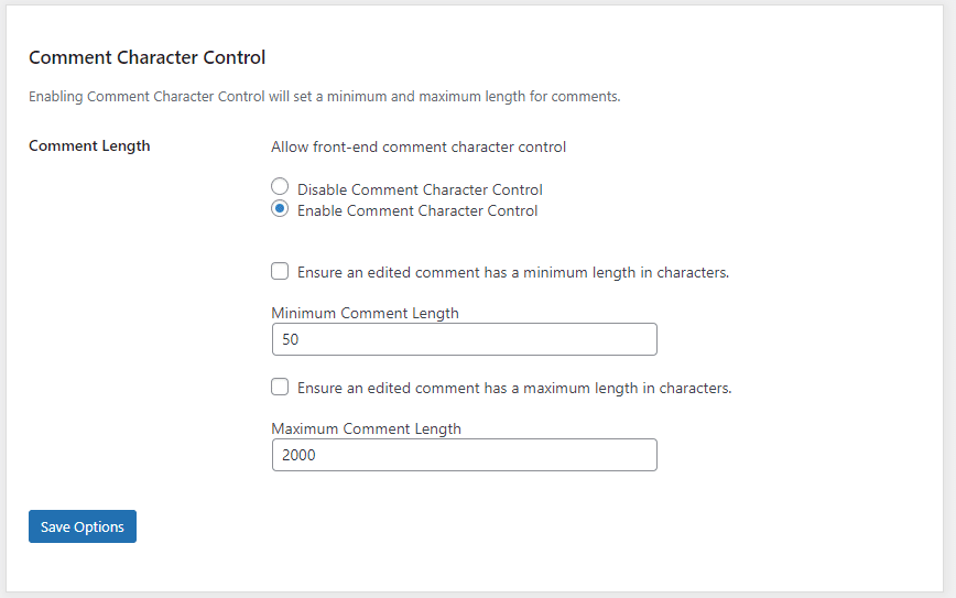 Comment Character Control settings