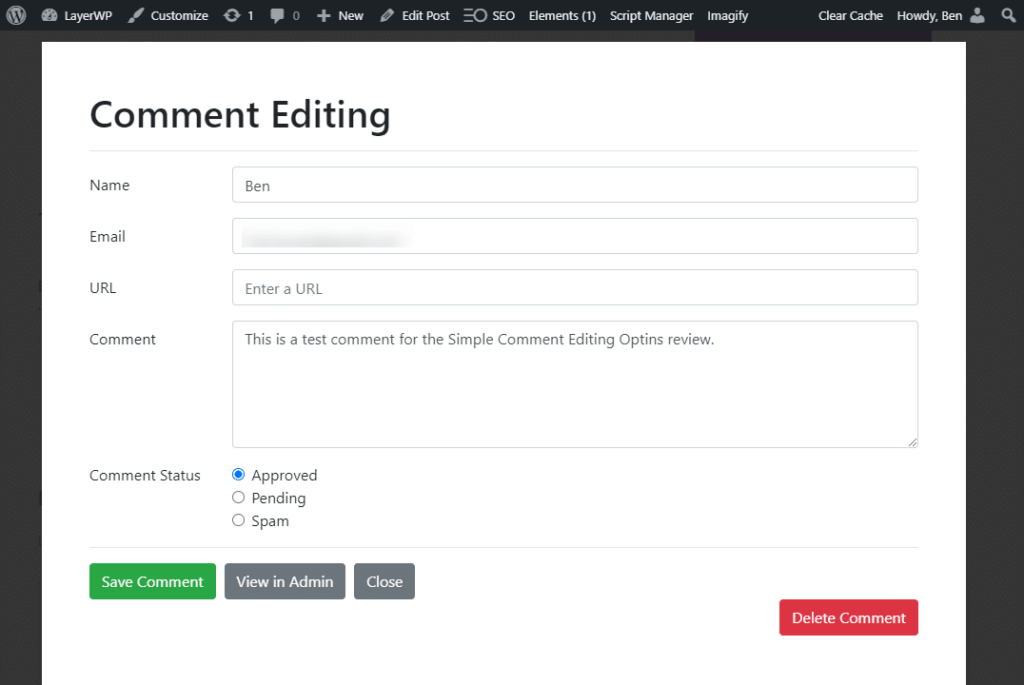 Real-time front end comment editing