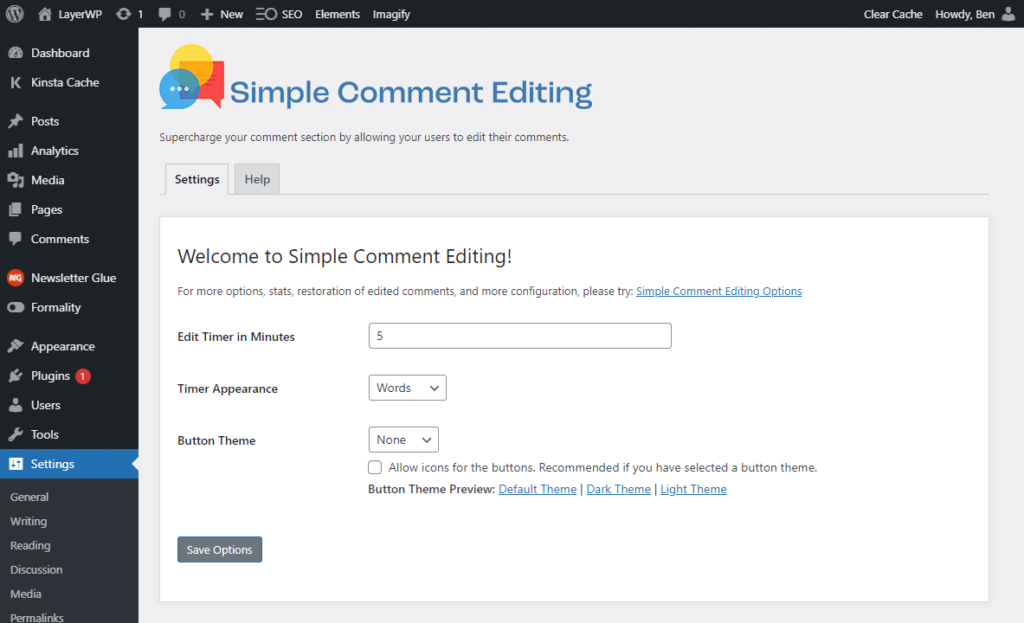 Simple Comments Editing Options Panel (part one)