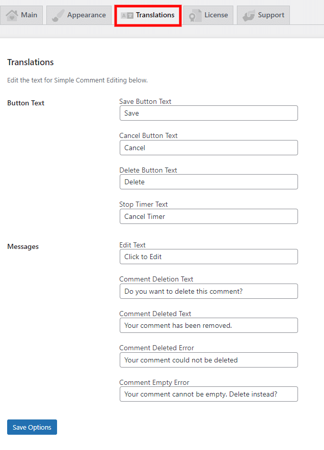 Edit Translations for comments with SCE Options